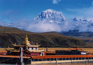Holy Yala Mountain from Tagong Grasslands,Sichuan