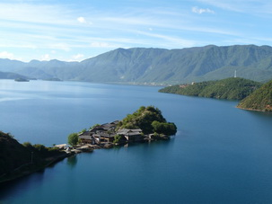 Lugu Lake at borderline of Yunnan and Sichuan,SW China