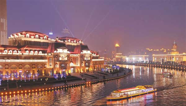 Lights along the Haihe River brighten up the night sky in Tianjin.